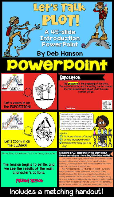 Use this plot PowerPoint to teach your students about plot elements. After being introduced to the elements of a plot diagram, students will read a short story and fill out a plot diagram. It includes a companion handout! Use this plot PowerPoint to teach your students about plot elements. After being introduced to the elements of a plot diagram, students will read a short story and fill out a plot diagram.