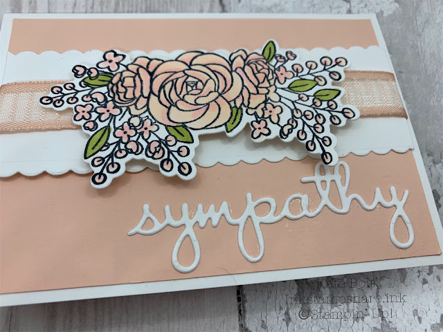 Sympathy card in Petal Pink and Whisper White .For the Inspire Create Stamping Challenge.For the Inspire Create Stamping Challenge.made using the Bloom and Grow stamp set and dies from Stampin' Up! With Petal Pink ribbon. Hand made card using all supplies from Stampin Up, available in my online shop at http://inkstampshare.ink.