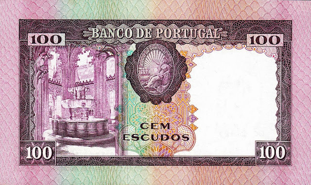 Portugal money currency 100 Escudos banknote 1961 Fountain
