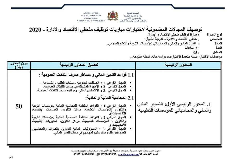 توصيف المجالات المضمونة لإختبارات مباراة توظيف ملحقي الاقتصاد والإدارة 2020