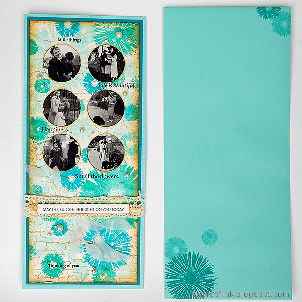 Layers of ink - Circle Photo Frame Card Tutorial by Anna-Karin Evaldsson. Decorated envelope for a slimline card.