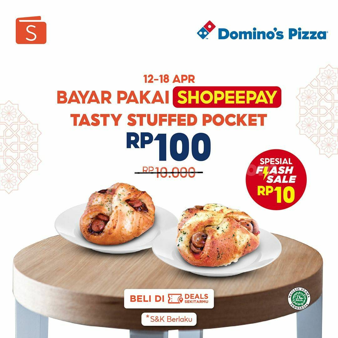 Domino's Pizza Promo Shopeepay - Beli Tasty Stuffed Pocket cuma Rp 100,-