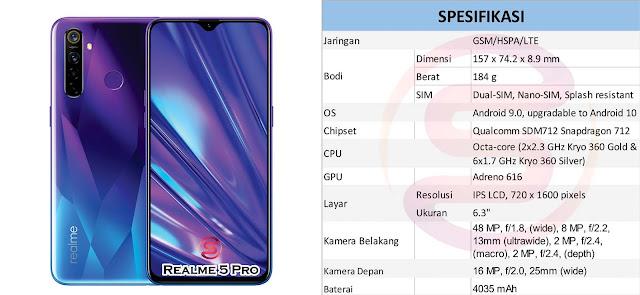 android RAM 4gb, Android 2 jutaan, spesifikasi Realme 5 Pro