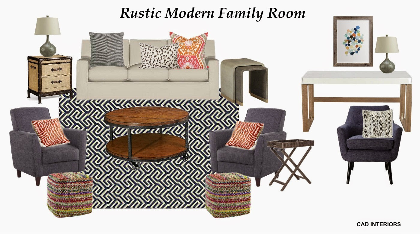 Rustic Modern Family Room Design