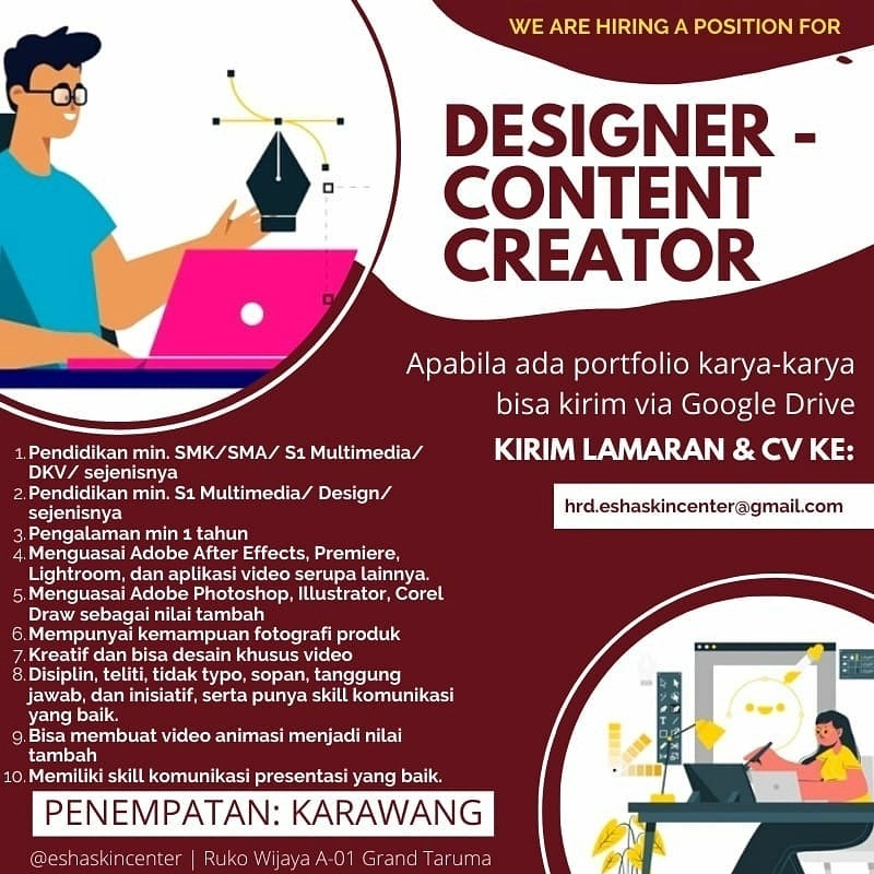 Lowongan Kerja Designer Content Kreator Karawang