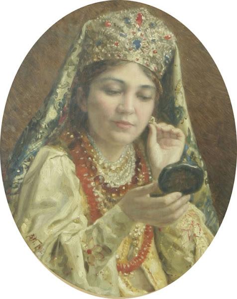 Маковский Владимир Егорович - Девушка, смотрящаяся в зеркало. 1916