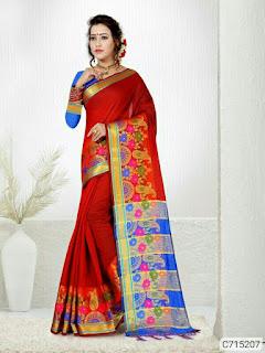 Latest Doria Cotton Silk Solid With Border Regular Sarees