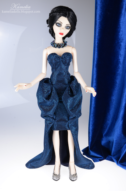 Navy blue evening dress for Evangeline Ghastly