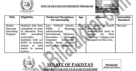 One Year Internship Program 2018 In Senate of Pakistan Download Application form