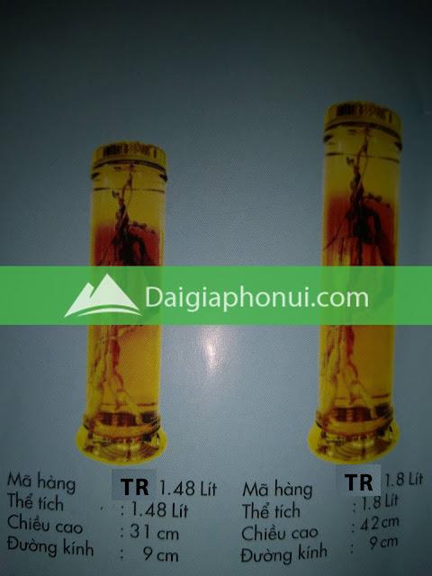 thông số bình ngâm rượu Phú Hoà mã số TR 1.48 & 1.8 LÍT