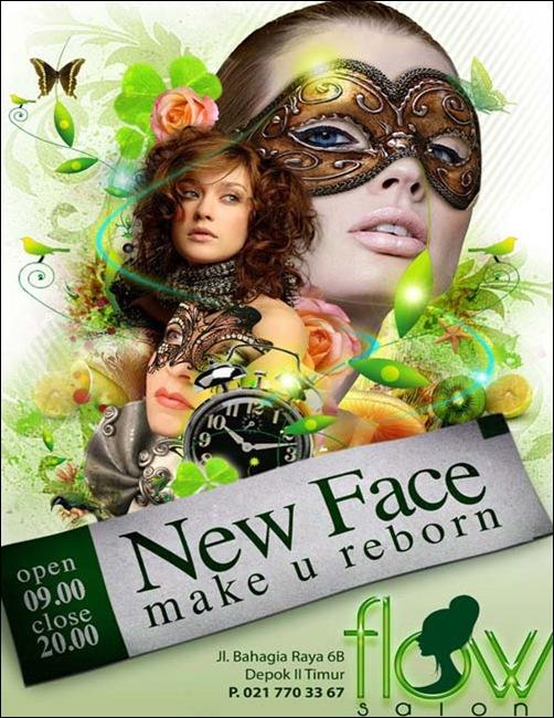 Mẫu in tờ rơi quảng cáo lạ mắt ấn tượng, New Face Make U Reborn
