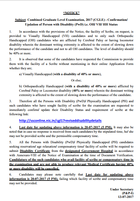 Official Notification of SSC CGL regarding Status update for PWD candidates