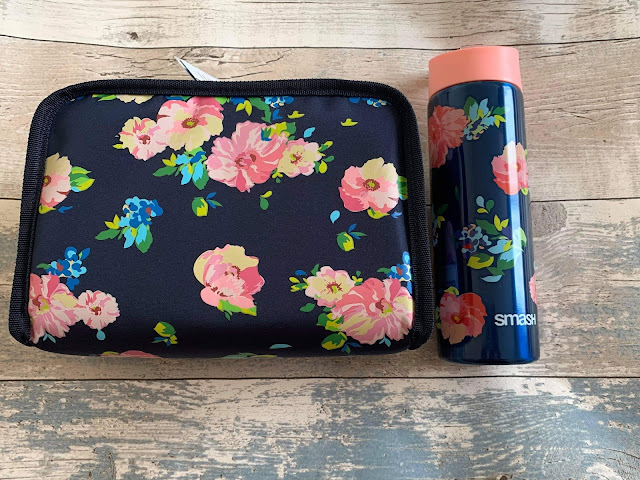navy floral smash lunch box and bottle