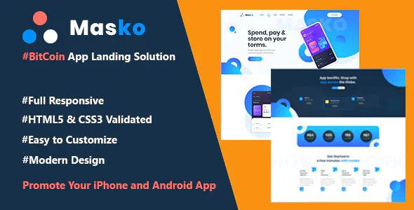 Best BitCoin & Cryptocurrency App Landing Page HTML Template