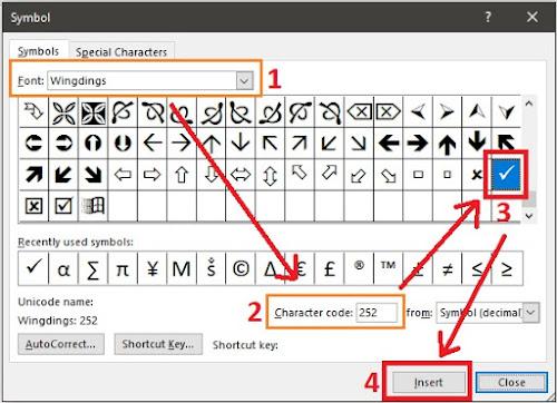 cara membuat simbol centang ceklis di word