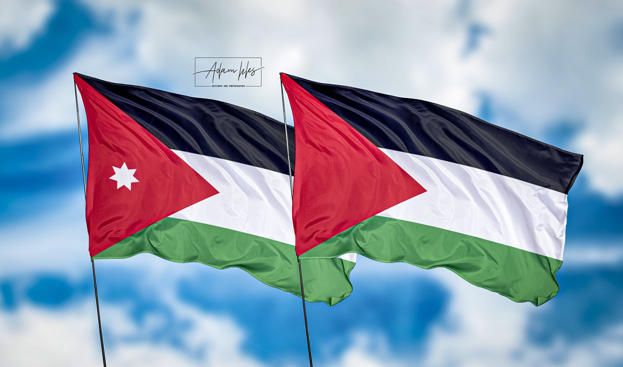 خلفيات الاردن وفلسطين اجمل خلفيات اعلام فلسطين والاردن ترفرف في السماء