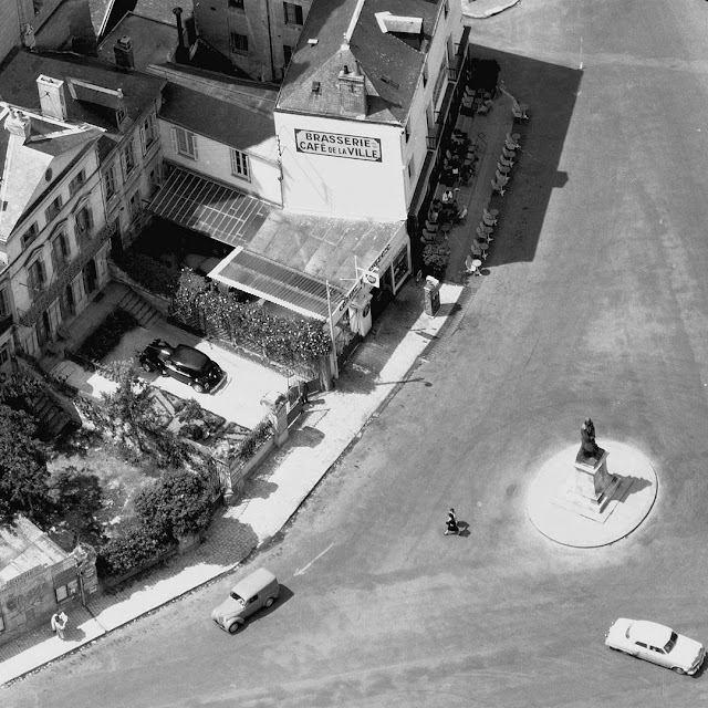 Aerial view of Place de la Marne, Loches, Indre et Loire, France, 1950s or 60s. Photo by Loire Valley Time Travel.