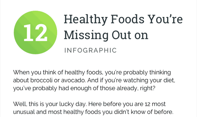 12 HEALTHY FOODS YOU'RE MISSING OUT ON #INFOGRAPHIC