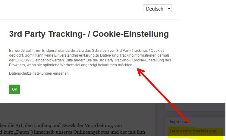3-rd Party Tracker auf der Datenschutzseite???