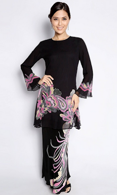 Foto baju kurung modern kombinasi batik
