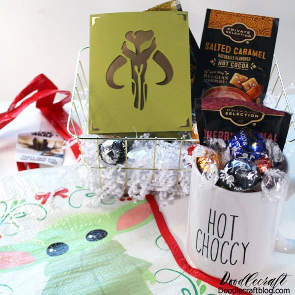 Handmade gifts are my favorite part of the holidays! Most of the time I do customized gifts or add things to store bought things. This fabulous gift basket idea is perfect for anyone that loves the Star Wars Mandalorian on Disney Plus.  Um, do you love the Mandalorian? I totally do! I am totally in love with it! This is the perfect gift basket for me!