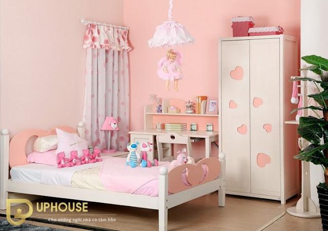 Phòng ngủ màu hồng trắng 03