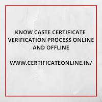 Caste Certificate Verification Online