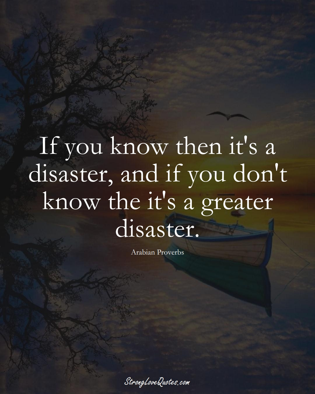 If you know then it's a disaster, and if you don't know the it's a greater disaster. (Arabian Sayings);  #aVarietyofCulturesSayings