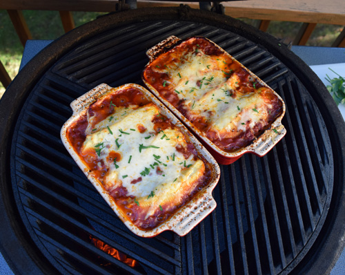 Cooking fire roasted spinach and cheese stuffed shells on the Big Green Egg kamado grill