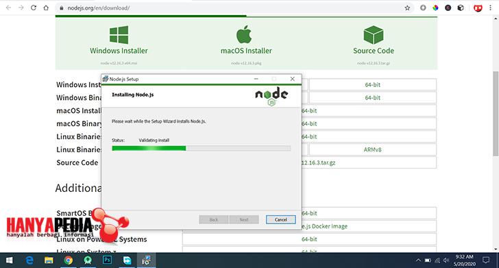 Proses install node.js dan npm