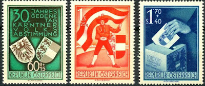 Austrian stamps commemorating 30 years since the Carinthian plebiscite