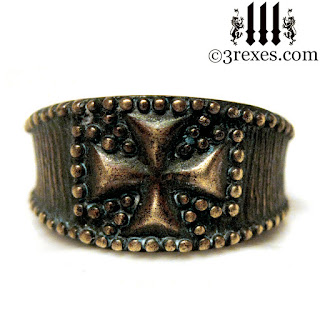 Bronze Studded Iron Cross Ring for men Knights Templar Masonic Mason Jewelry