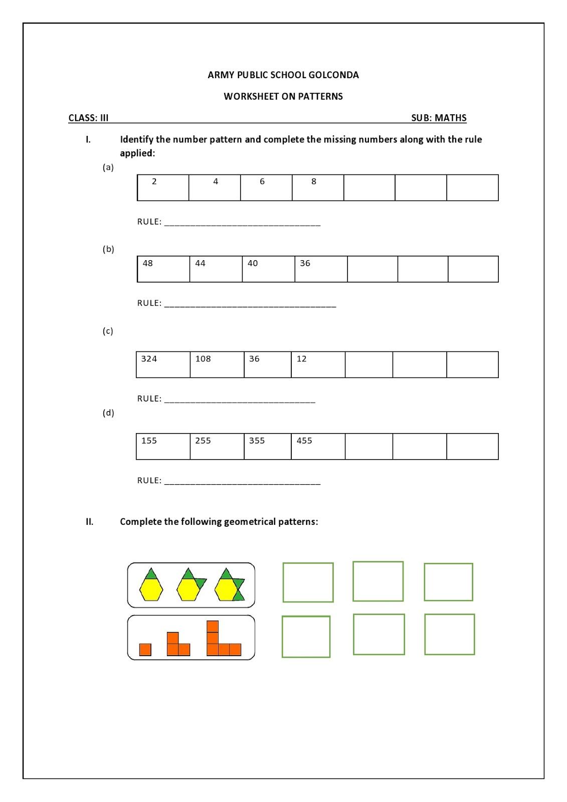 Aps21 Maths Class 3 D Maths Worksheet