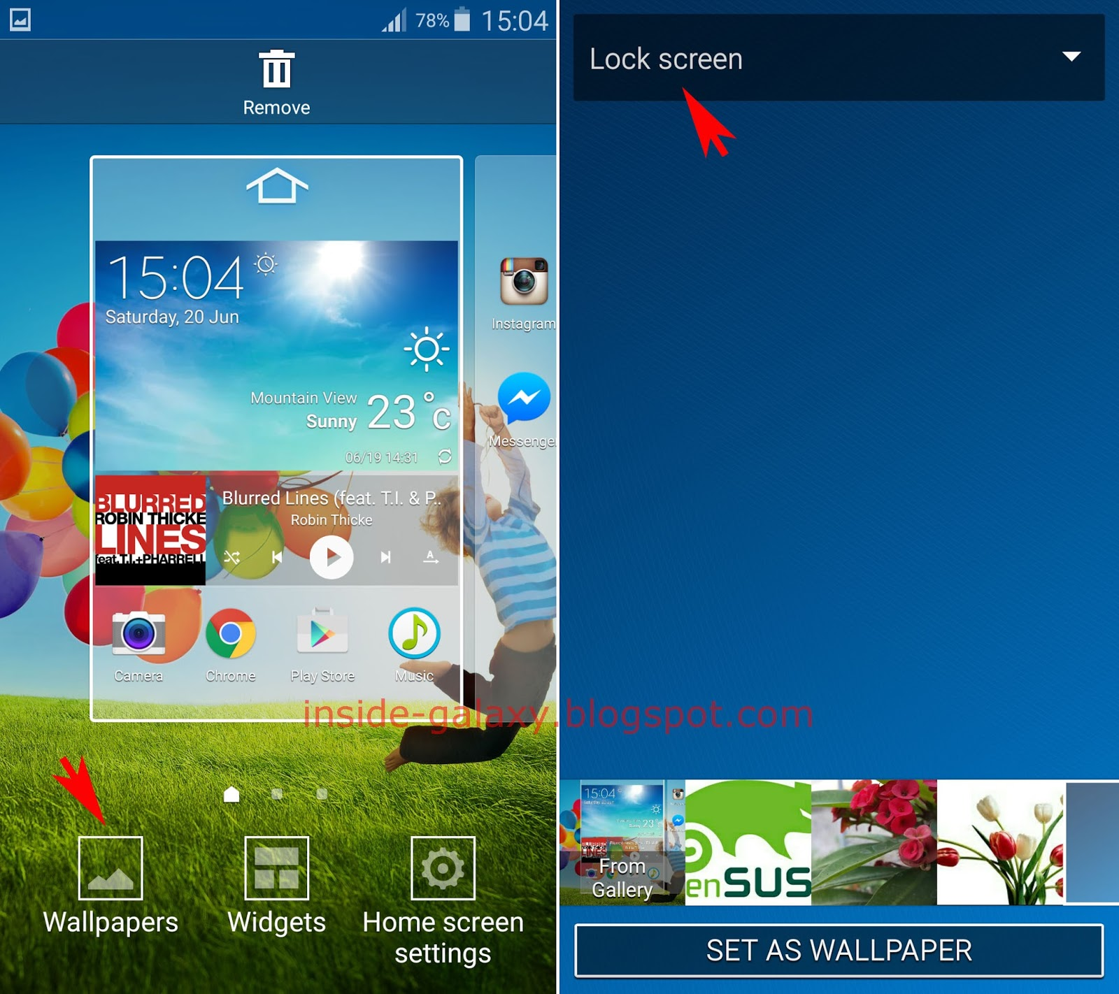 Inside Galaxy Samsung Galaxy S4 How To Change Lock Screen Wallpaper In Android 5 0 1 Lollipop
