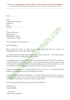 immediate resignation letter due to covid 19 pandemic sample