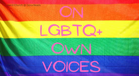 'On LGBTQ+ Own Voices' written in pink on a rainbow Pride flag background