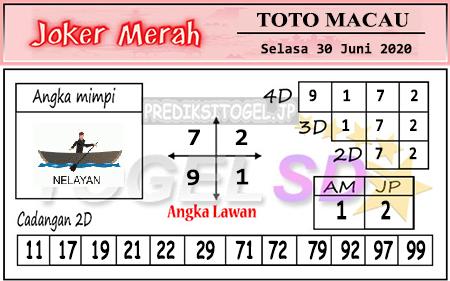 Prediksi Togel Joker Merah Toto Macau Selasa 30 Juni 2020