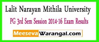 Lalit Narayan Mithila University PG 3rd Sem Session 2014-16 Exam Results