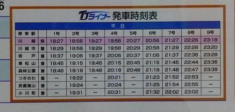 東武東上線 TJライナー森林公園行き時刻表