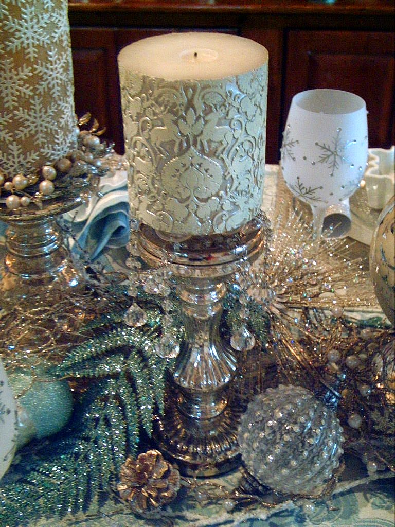 Candlelight Supper Icy Blue Snowflake Tablescape