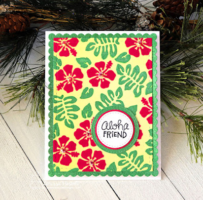 Aloha Friend by Larissa Heskett for Newton's Nook Designs using Hibiscus Stencil Set and Therm O Web Deco Foil Flock, Glitz Glitter Gel and Metallix Gel #newtonsnook #thermoweb #hibiscusstencil