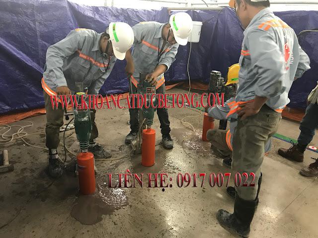 Thi công khoan sàn bê tông tại công ty SAMSUNG thành phố HCM