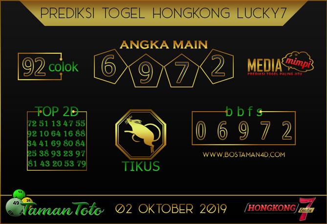 Prediksi Togel HONGKONG LUCKY 7 TAMAN TOTO 02 OKTOBER 2019