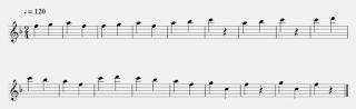 gambar notasi 1/4 nada f pada not balok