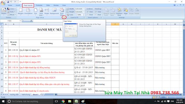 Đành số trang trong Excel - H01