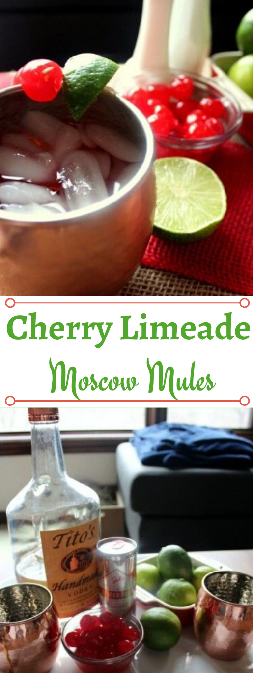 CHERRY LIMEADE MOSCOW MULES #drink #lemonade #sangria #cocktail #easy