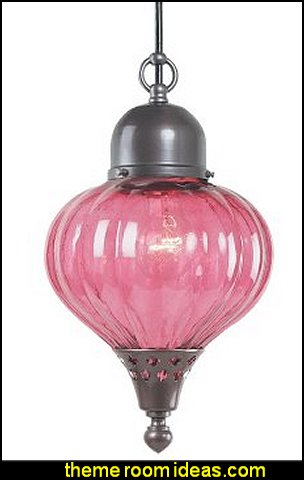 Marrakech 1-Light Outdoor Pendant, Burnished Bronze, Ribbed Cranberry Glass