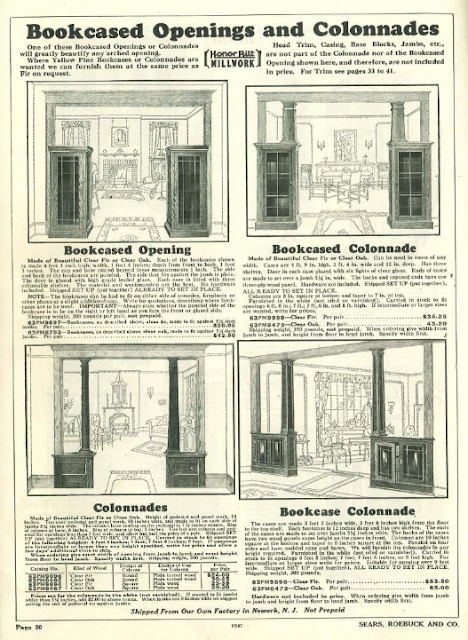 Sears Craftsman style colonnades in 1930 building supplies catalog