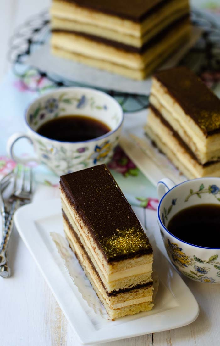 Opera cake is rich and decadent cake for birthdays