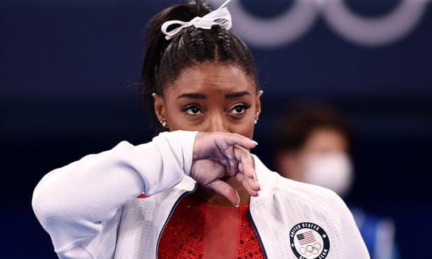 Tokyo Olympics: Simon Biles holds back tears as she pulls out of gymnastics final